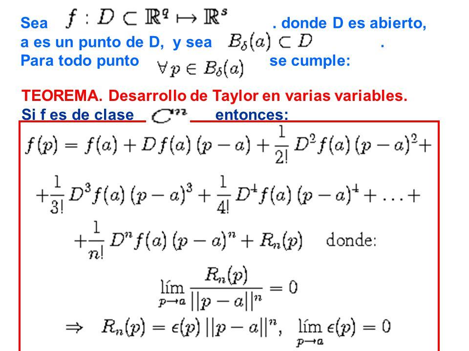 Sea, donde D es abierto, a es un punto de D, y sea. Para todo punto se cumple: TEOREMA. Desarrollo de Taylor en varias variables. Si f es de clase ent