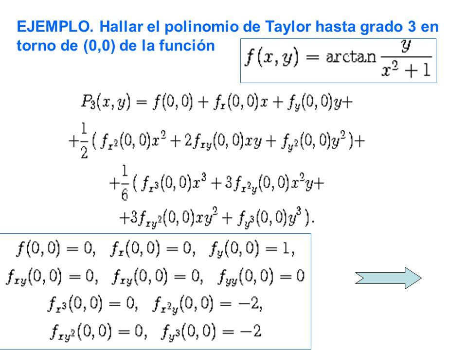EJEMPLO. Hallar el polinomio de Taylor hasta grado 3 en torno de (0,0) de la función