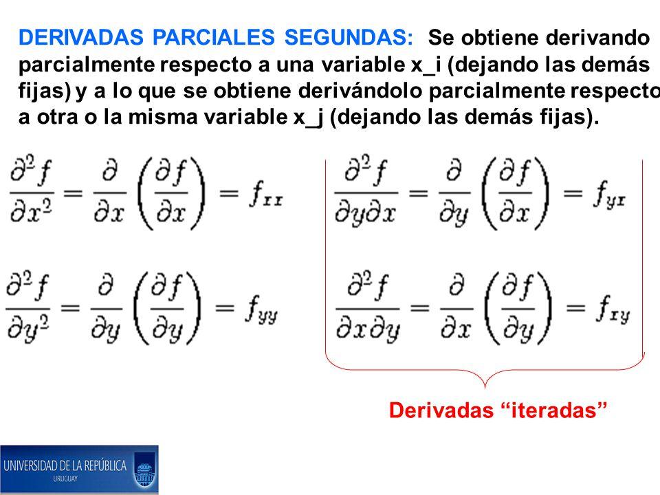 DERIVADAS PARCIALES SEGUNDAS: Se obtiene derivando parcialmente respecto a una variable x_i (dejando las demás fijas) y a lo que se obtiene derivándolo parcialmente respecto a otra o la misma variable x_j (dejando las demás fijas).
