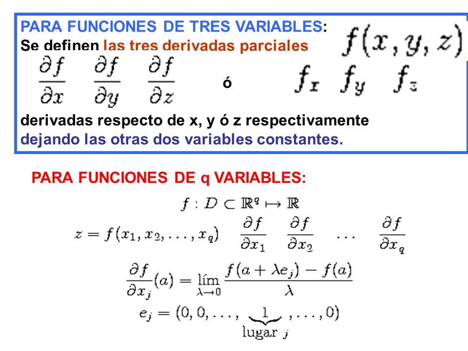 PARA FUNCIONES DE TRES VARIABLES: Se definen las tres derivadas parciales ó derivadas respecto de x, y ó z respectivamente dejando las otras dos variables constantes.