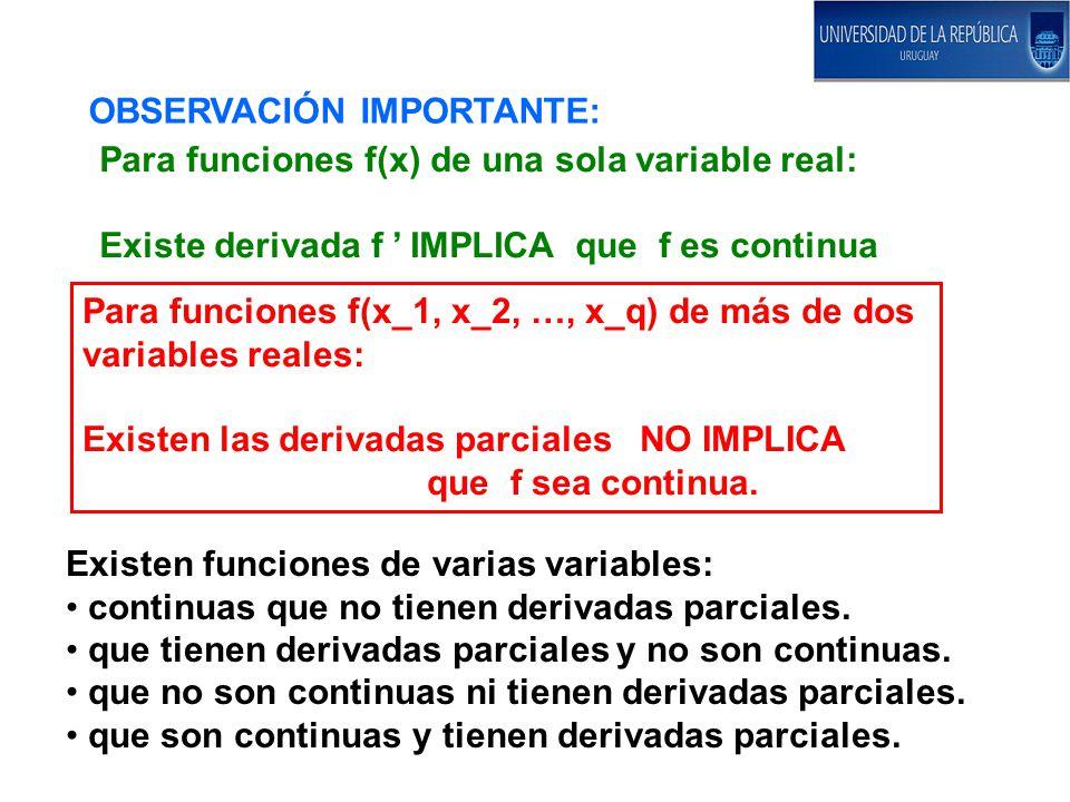 OBSERVACIÓN IMPORTANTE: Para funciones f(x) de una sola variable real: Existe derivada f IMPLICA que f es continua Para funciones f(x_1, x_2, …, x_q) de más de dos variables reales: Existen las derivadas parciales NO IMPLICA que f sea continua.