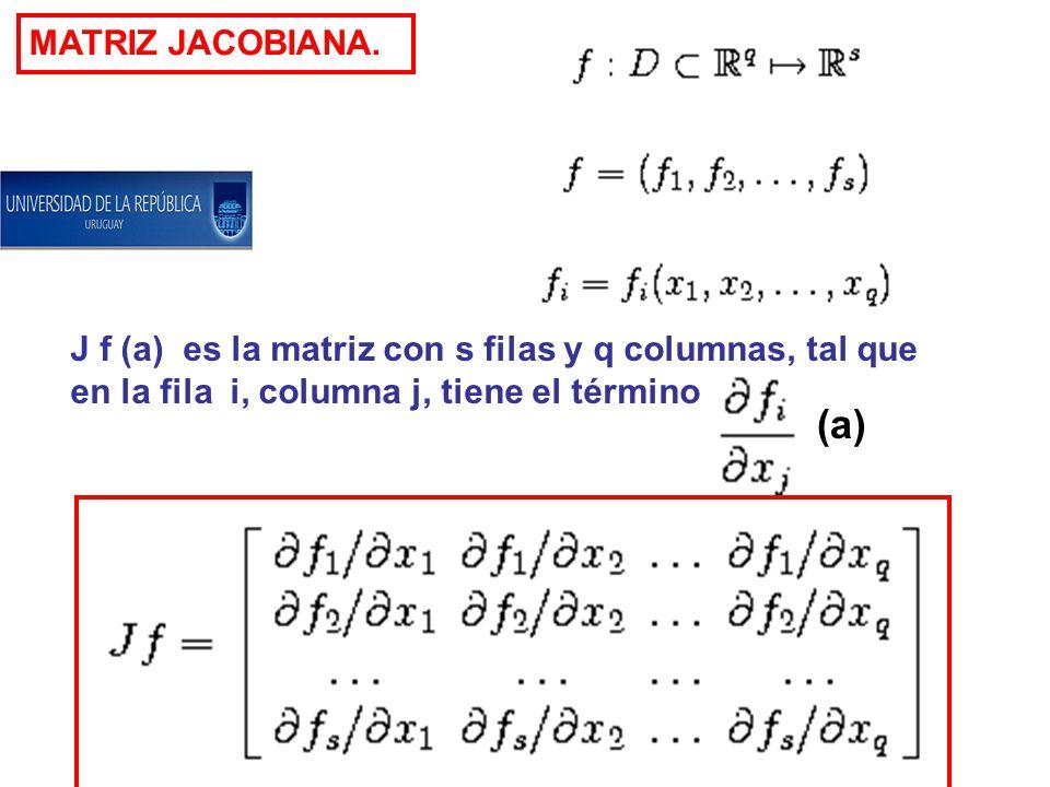 MATRIZ JACOBIANA. J f (a) es la matriz con s filas y q columnas, tal que en la fila i, columna j, tiene el término (a)