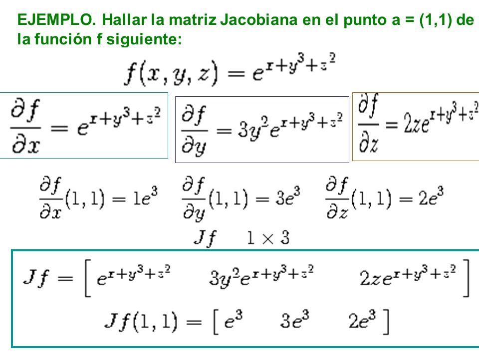 EJEMPLO. Hallar la matriz Jacobiana en el punto a = (1,1) de la función f siguiente: