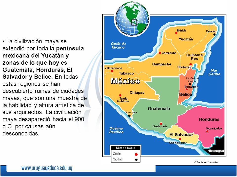 La civilización maya se extendió por toda la península mexicana del Yucatán y zonas de lo que hoy es Guatemala, Honduras, El Salvador y Belice. En tod
