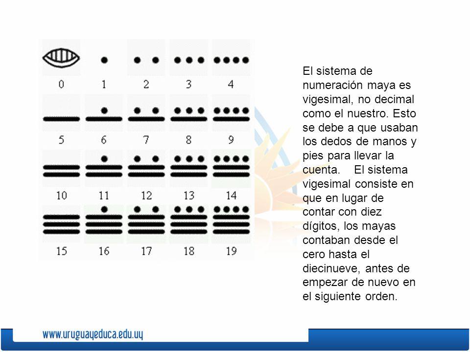 El sistema de numeración maya es vigesimal, no decimal como el nuestro. Esto se debe a que usaban los dedos de manos y pies para llevar la cuenta. El