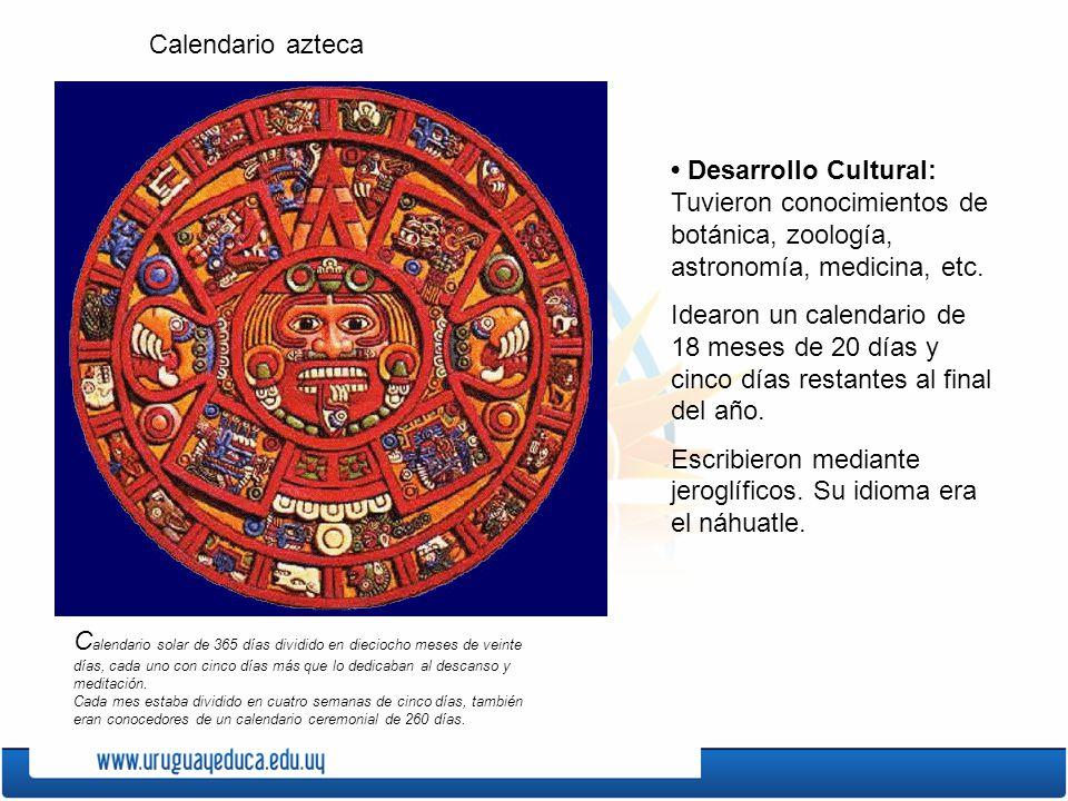 Desarrollo Cultural: Tuvieron conocimientos de botánica, zoología, astronomía, medicina, etc. Idearon un calendario de 18 meses de 20 días y cinco día