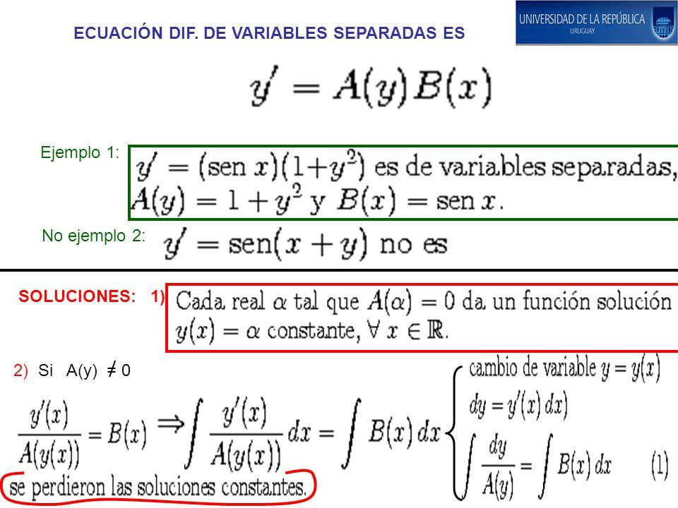 ECUACIÓN DIF. DE VARIABLES SEPARADAS ES Ejemplo 1: No ejemplo 2: SOLUCIONES: 1) 2) Si A(y) = 0