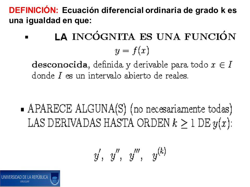 DEFINICIÓN: Ecuación diferencial ordinaria de grado k es una igualdad en que: