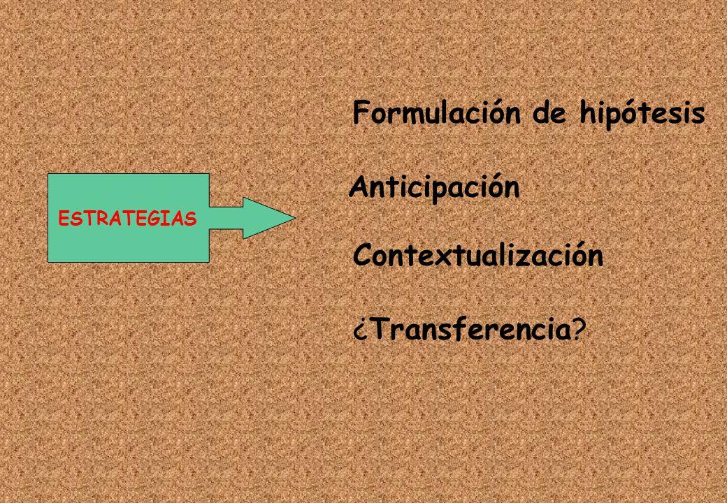 Formulación de hipótesis Anticipación Contextualización ¿Transferencia? ESTRATEGIAS