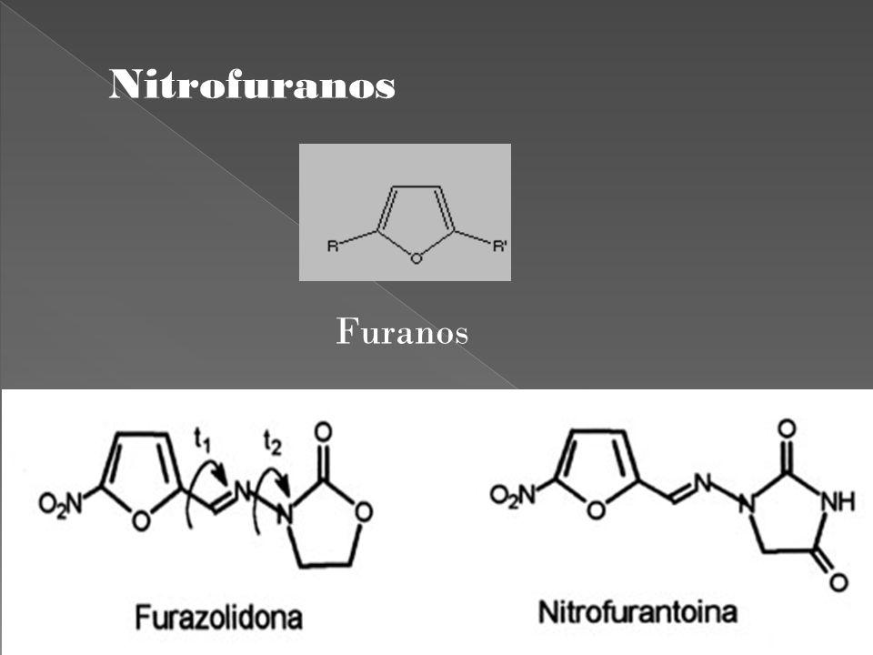 Mecanismo de acción desconocido Requiere la acción de reductasas bacterianas Moléculas reactivas con radicales libres de oxigeno y cloro Inhibe procesos enzimáticos bacterianos.