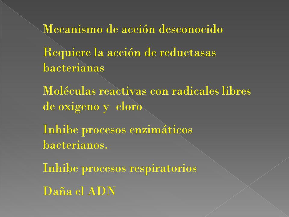 Mecanismo de acción desconocido Requiere la acción de reductasas bacterianas Moléculas reactivas con radicales libres de oxigeno y cloro Inhibe proces