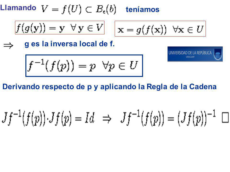 Llamando teníamos g es la inversa local de f. Derivando respecto de p y aplicando la Regla de la Cadena