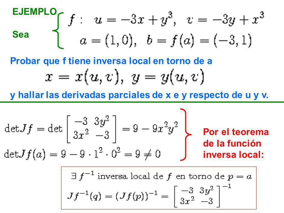 EJEMPLO Sea Probar que f tiene inversa local en torno de a y hallar las derivadas parciales de x e y respecto de u y v. Por el teorema de la función i