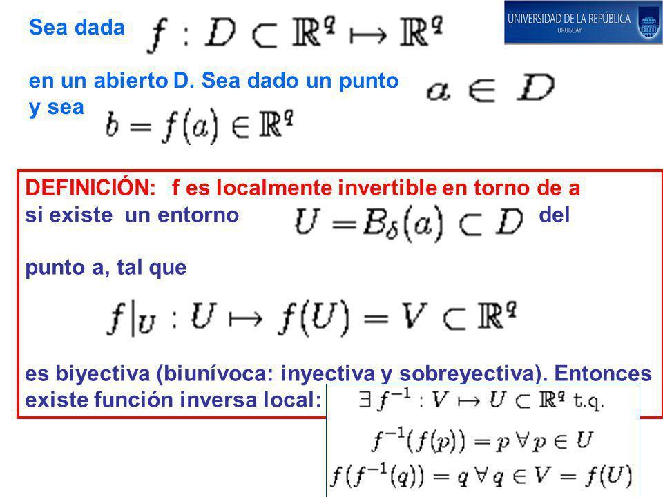 Sea dada en un abierto D. Sea dado un punto y sea DEFINICIÓN: f es localmente invertible en torno de a si existe un entorno del punto a, tal que es bi