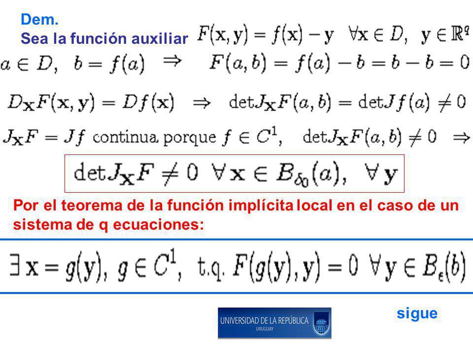 Dem. Sea la función auxiliar Por el teorema de la función implícita local en el caso de un sistema de q ecuaciones: sigue