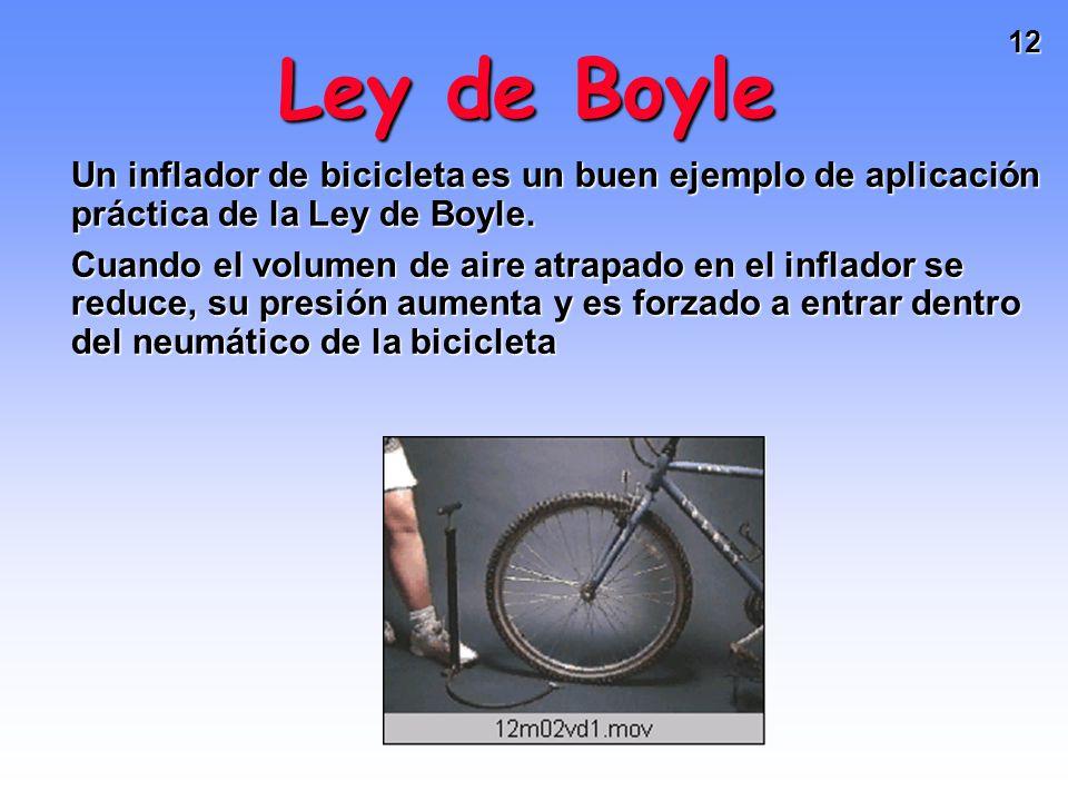 11 Ley de Boyle Si n y T permanecen constantes PV = (nRT) = k Esto significa que si por ejemplo, P aumenta, V disminuye proporcionalmente Robert Boyle (1627-1691)