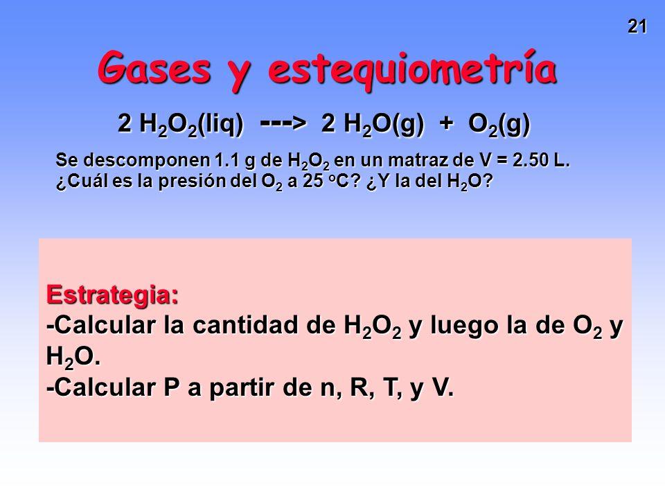 20 Gases y estequiometría 2 H 2 O 2 (liq) --- > 2 H 2 O(g) + O 2 (g) Se descomponen 1.1 g de H 2 O 2 en un matraz de V = 2.50 L. ¿Cuál es la presión d