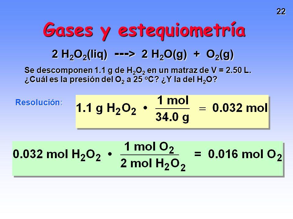 21 Estrategia: -Calcular la cantidad de H 2 O 2 y luego la de O 2 y H 2 O. -Calcular P a partir de n, R, T, y V. Gases y estequiometría 2 H 2 O 2 (liq