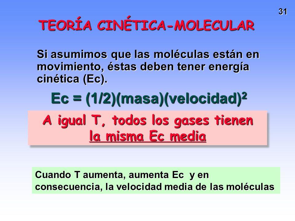 30 TEORÍA CINÉTICA-MOLECULAR La teoría interpreta las leyes de los gases de acuerdo a los siguientes postulados: Los gases están formados por molécula