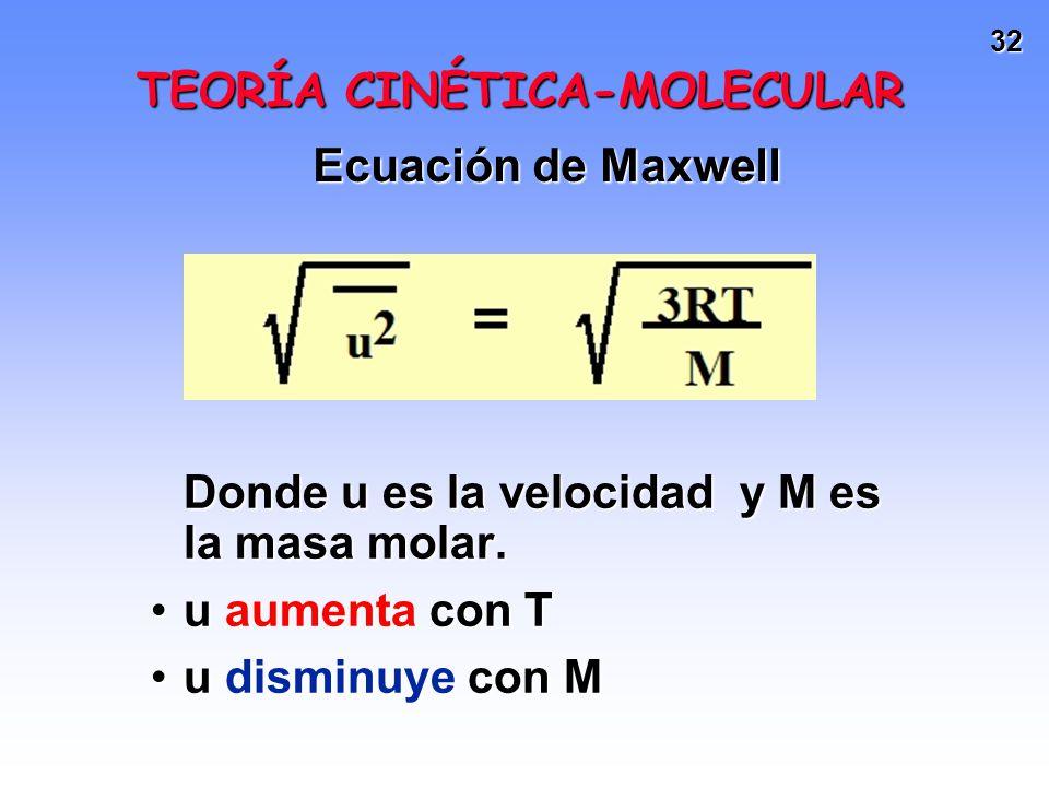 31 Si asumimos que las moléculas están en movimiento, éstas deben tener energía cinética (Ec). Ec = (1/2)(masa)(velocidad) 2 A igual T, todos los gase