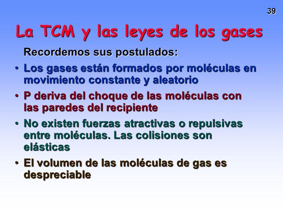 38 Difusión de gases Relación entre la masa y la tasa de difusión Los gases HCl y NH 3 difunden desde extremos opuestos del tubo. Los gases se encuent