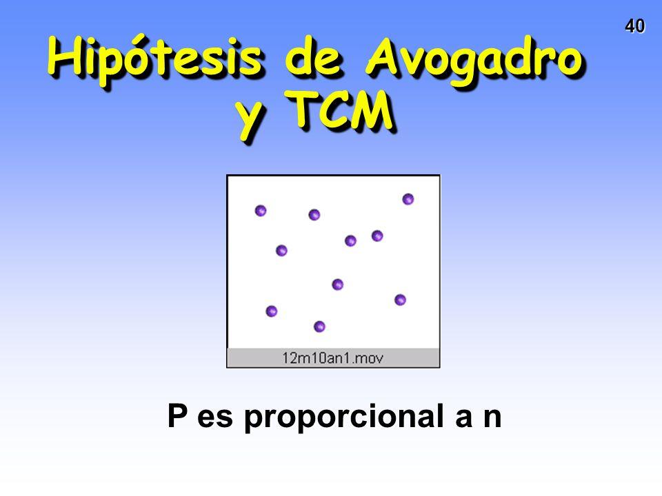 39 La TCM y las leyes de los gases Recordemos sus postulados: Los gases están formados por moléculas en movimiento constante y aleatorioLos gases está