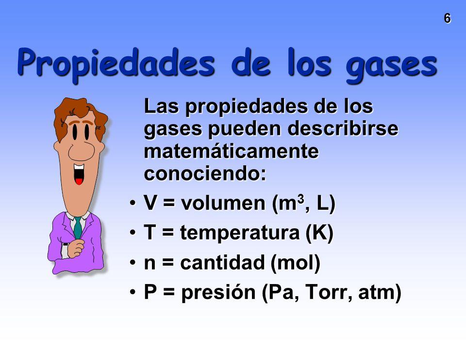16 Hipótesis de Avogadro Volúmenes iguales de gases a igual Ty P contienen la misma cantidad de partículas V = n (RT/P) = kn V y n son directamente proporcionales.