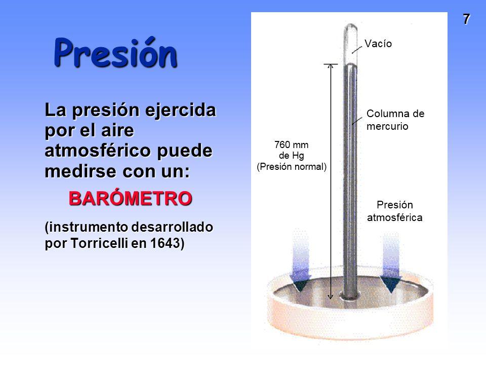 7 Presión La presión ejercida por el aire atmosférico puede medirse con un: BARÓMETRO BARÓMETRO (instrumento desarrollado por Torricelli en 1643)