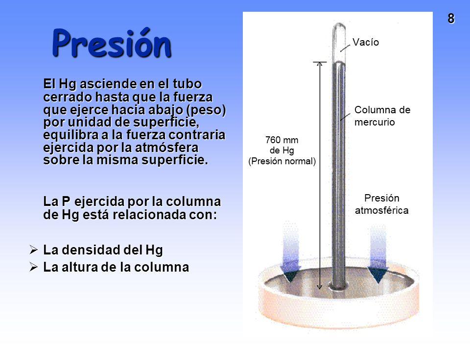 8 Presión El Hg asciende en el tubo cerrado hasta que la fuerza que ejerce hacia abajo (peso) por unidad de superficie, equilibra a la fuerza contraria ejercida por la atmósfera sobre la misma superficie.
