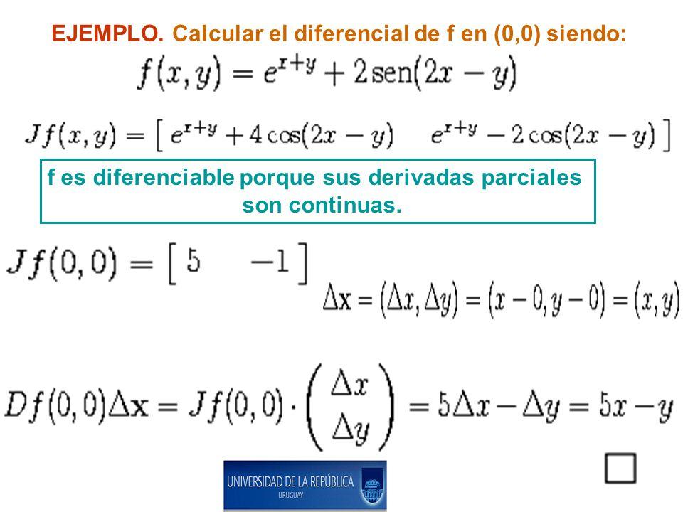 EJEMPLO. Calcular el diferencial de f en (0,0) siendo: f es diferenciable porque sus derivadas parciales son continuas.
