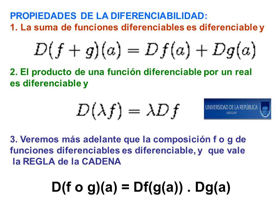 PROPIEDADES DE LA DIFERENCIABILIDAD: 1.La suma de funciones diferenciables es diferenciable y 2. El producto de una función diferenciable por un real