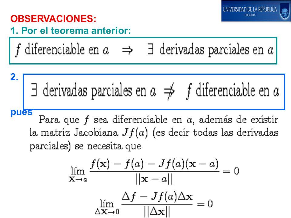 OBSERVACIONES: Del pizarrón anterior Sin embargo, demostraremos más adelante que Esto último da un procedimiento suficiente (pero no necesario) para probar que f es diferenciable: hallar las derivadas parciales en un punto p genérico (si existen) y demostrar que son continuas.