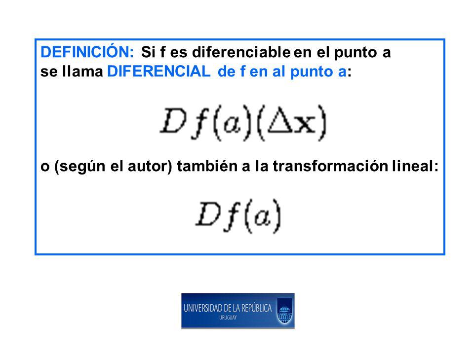 DEFINICIÓN: Si f es diferenciable en el punto a se llama DIFERENCIAL de f en al punto a: o (según el autor) también a la transformación lineal: