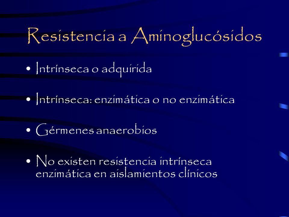 Resistencia a Aminoglucósidos Intrínseca o adquirida Intrínseca: enzimática o no enzimática Gérmenes anaerobios No existen resistencia intrínseca enzimática en aislamientos clínicos
