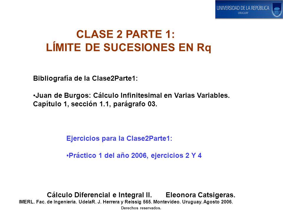 Bibliografía de la Clase2Parte1: Juan de Burgos: Cálculo Infinitesimal en Varias Variables. Capítulo 1, sección 1.1, parágrafo 03. Ejercicios para la