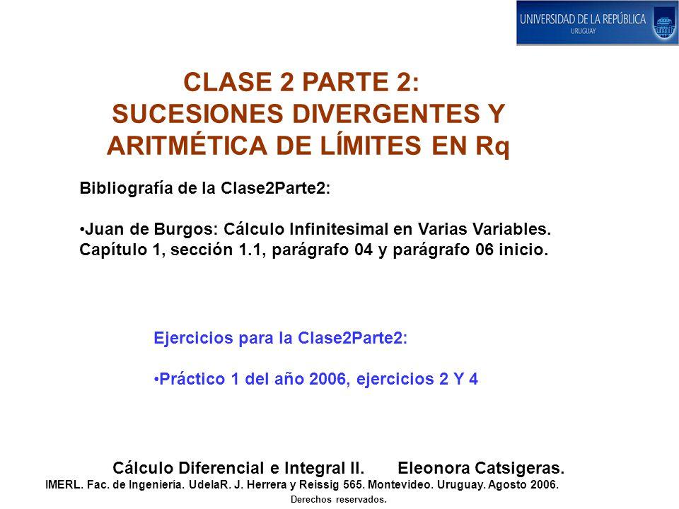 Bibliografía de la Clase2Parte2: Juan de Burgos: Cálculo Infinitesimal en Varias Variables. Capítulo 1, sección 1.1, parágrafo 04 y parágrafo 06 inici