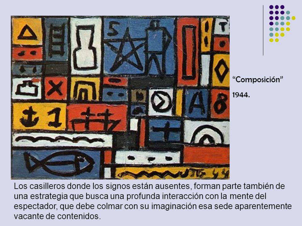Composición 1944. Los casilleros donde los signos están ausentes, forman parte también de una estrategia que busca una profunda interacción con la men