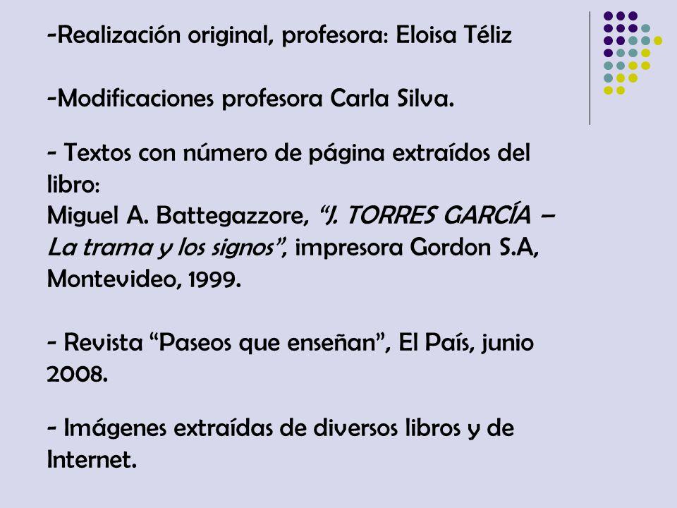 -Realización original, profesora: Eloisa Téliz -Modificaciones profesora Carla Silva. - Textos con número de página extraídos del libro: Miguel A. Bat
