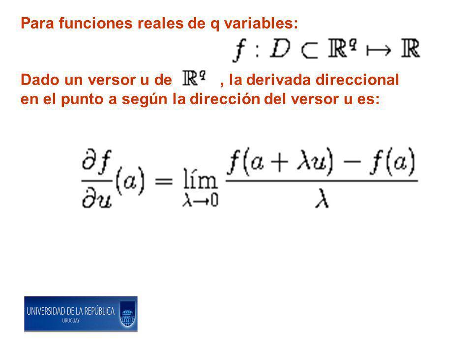 Para funciones reales de q variables: Dado un versor u de, la derivada direccional en el punto a según la dirección del versor u es: