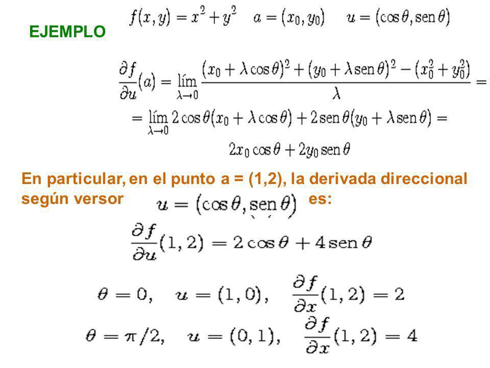 EJEMPLO En particular, en el punto a = (1,2), la derivada direccional según versor es: