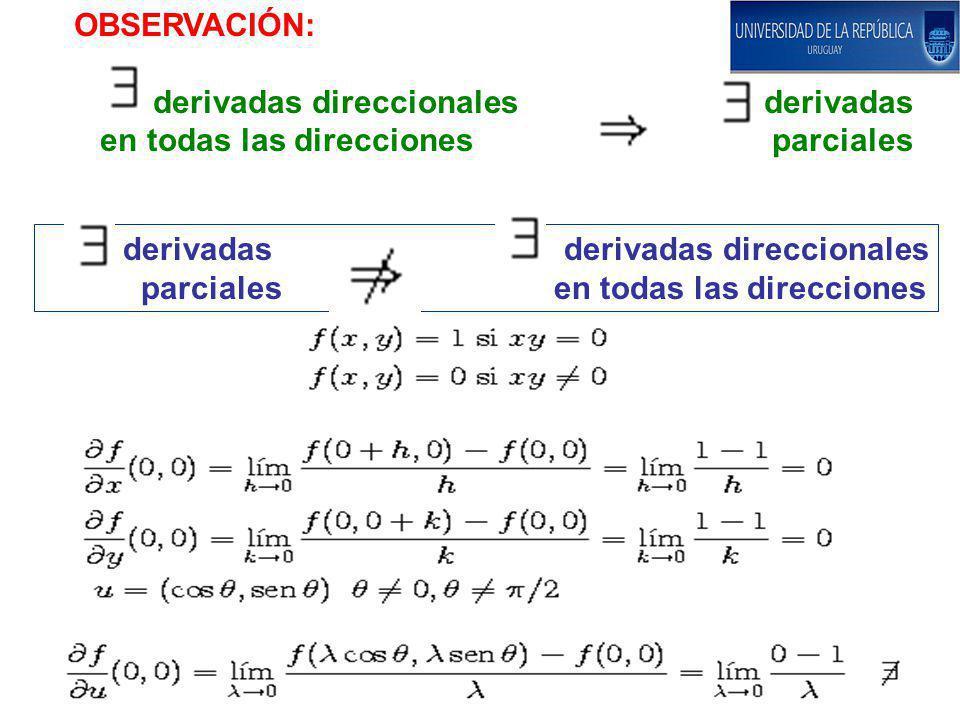 OBSERVACIÓN: derivadas direccionales derivadas en todas las direcciones parciales derivadas derivadas direccionales parciales en todas las direcciones