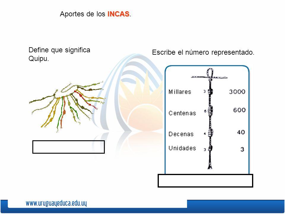 INCAS Aportes de los INCAS. Define que significa Quipu. Escribe el número representado.