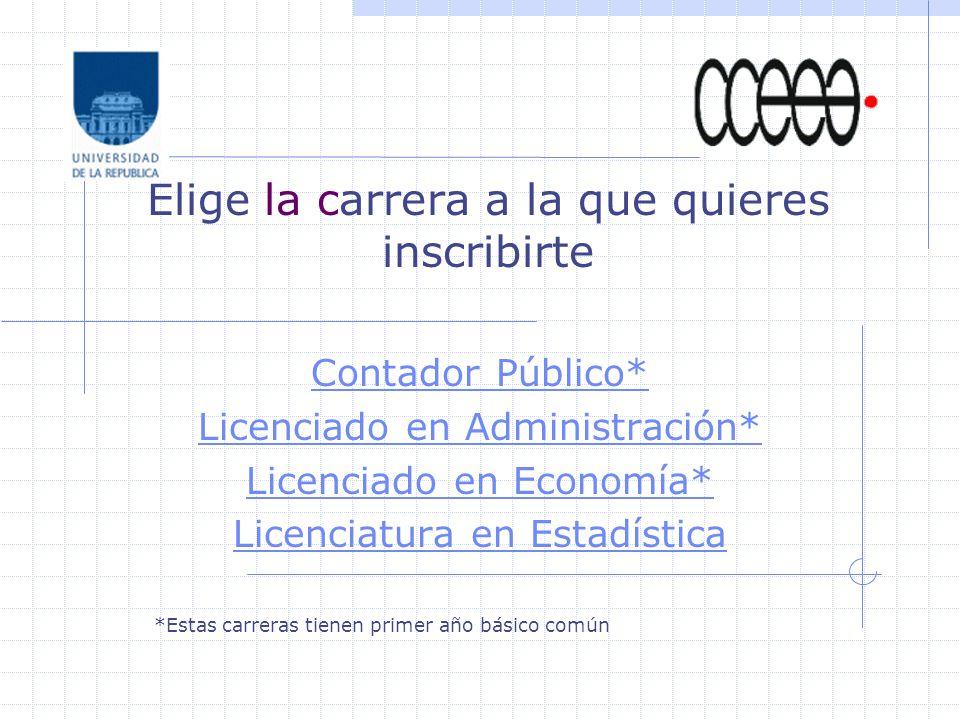 Elige la carrera a la que quieres inscribirte Contador Público* Licenciado en Administración* Licenciado en Economía* Licenciatura en Estadística *Est