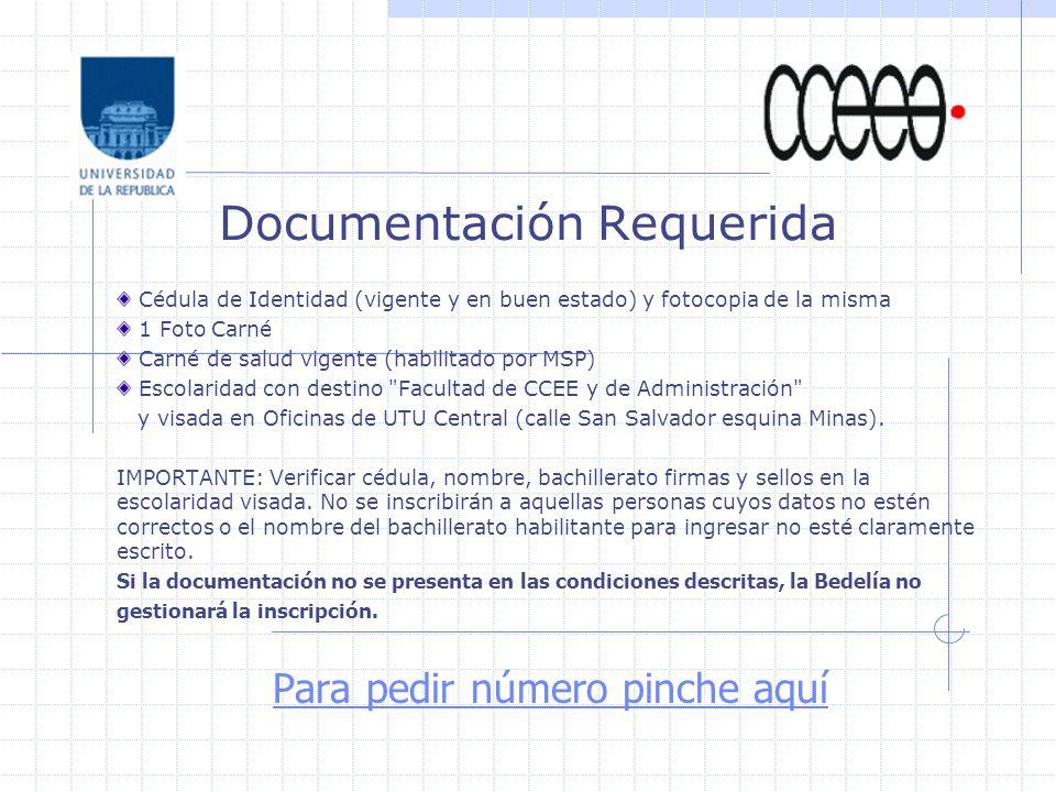 Documentación Requerida Cédula de Identidad (vigente y en buen estado) y fotocopia de la misma 1 Foto Carné Carné de salud vigente (habilitado por MSP