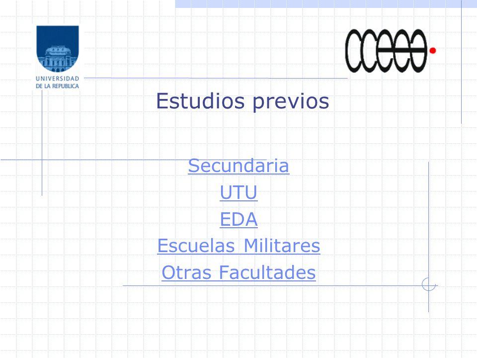 Estudios previos Secundaria UTU EDA Escuelas Militares Otras Facultades