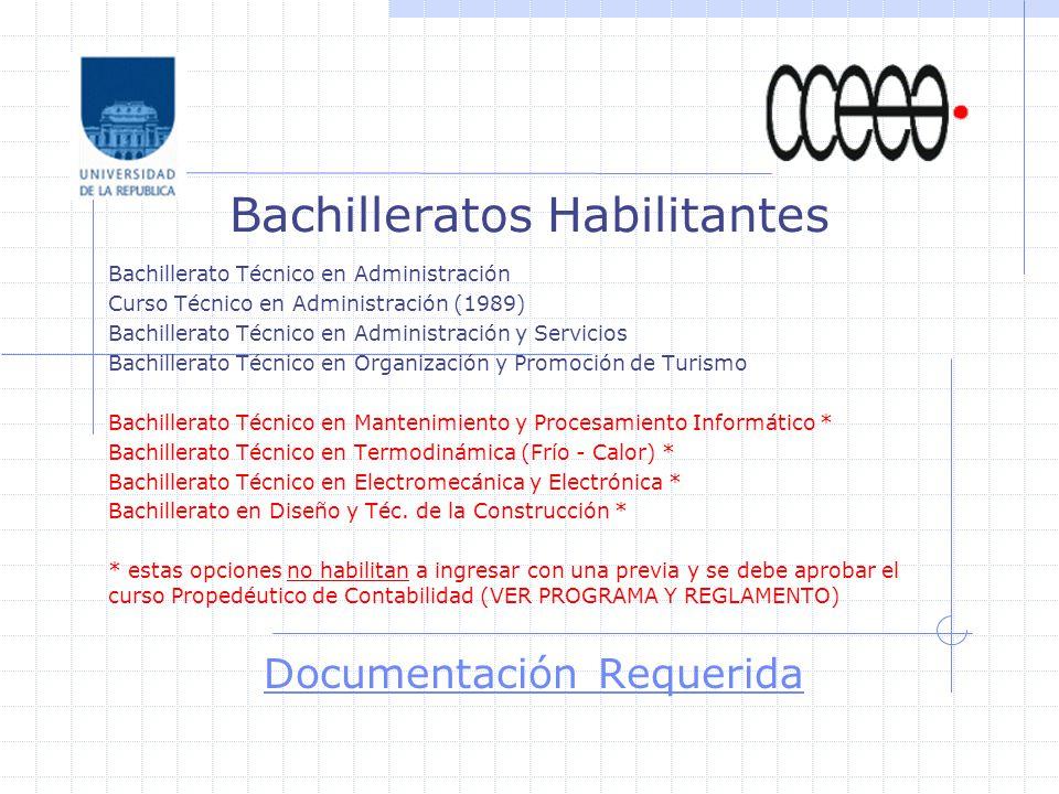 Bachilleratos Habilitantes Bachillerato Técnico en Administración Curso Técnico en Administración (1989) Bachillerato Técnico en Administración y Servicios Bachillerato Técnico en Organización y Promoción de Turismo Bachillerato Técnico en Mantenimiento y Procesamiento Informático * Bachillerato Técnico en Termodinámica (Frío - Calor) * Bachillerato Técnico en Electromecánica y Electrónica * Bachillerato en Diseño y Téc.