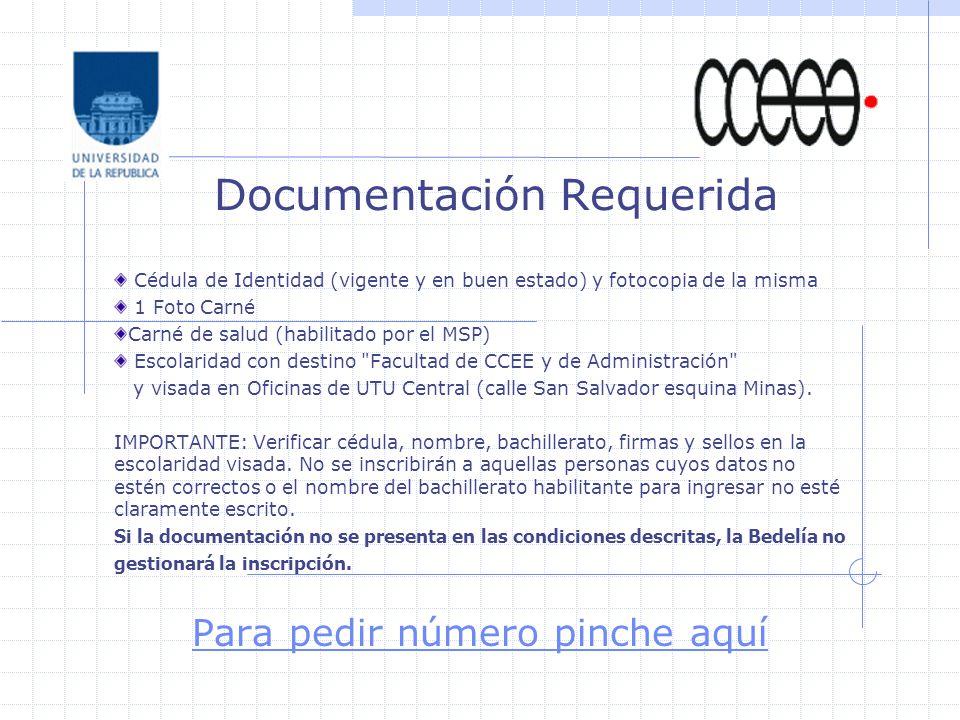 Cédula de Identidad (vigente y en buen estado) y fotocopia de la misma 1 Foto Carné Carné de salud (habilitado por el MSP) Escolaridad con destino