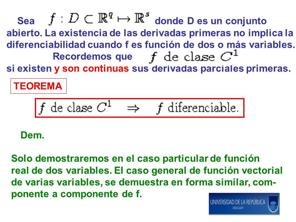 TEOREMA Dem. Sea donde D es un conjunto abierto. La existencia de las derivadas primeras no implica la diferenciabilidad cuando f es función de dos o