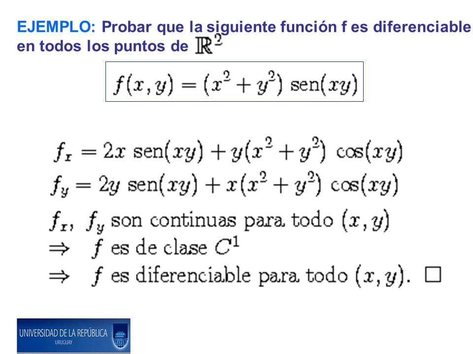 EJEMPLO: Probar que la siguiente función f es diferenciable en todos los puntos de