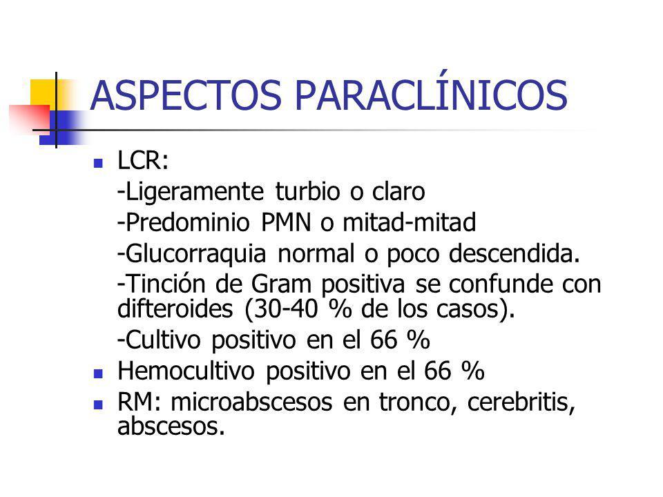 ASPECTOS PARACLÍNICOS LCR: -Ligeramente turbio o claro -Predominio PMN o mitad-mitad -Glucorraquia normal o poco descendida. -Tinción de Gram positiva